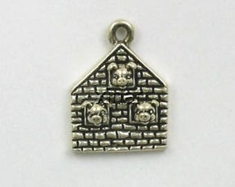 Sterling Silver Three Little Pigs Charm