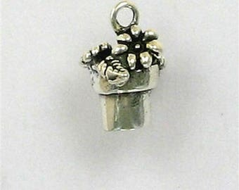 Sterling Silver 3-D African Violet or Potted Plant Charm