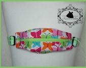 Bright butterflies insulin pump belt with neon green spotty elastic.  Size 3.