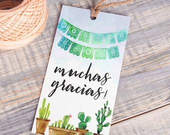 Printable Thank You Tags | Muchas Gracias | Instant Download PDF | Printable Favor Tags | Fiesta Favor Tag | Thank You Hang Tag | Fiesta Tag
