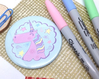 Unicorn Handbag Mirror, Pastel Pocket Mirror, Rainbow Unicorn Gifts, Cute Illustrated Make-up Hand Mirror, Teenager Gift, Thank You for Her.