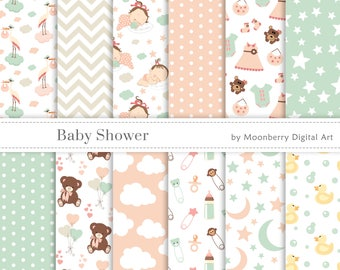 """Baby Shower Digital Papers. """"BABY SHOWER"""". Baby Girl. Birth Announcement. Baby Shower Invitation. Banners. Teddy Bear. Baby. Commercial Use"""