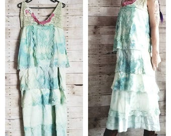 Pink Sunshine Shabby floral woodsy lime lace antique layered peasant repurpose country ruffle Boho altered mori maxi slip Dress romantic M L