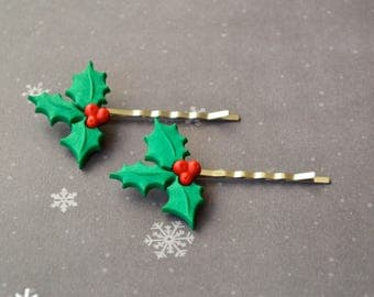 Holly Bobby Pins. Winter Bobby Pins. Christmas Hair Accessory. Gift Under 15 Dollar. Gift For Women. Hair Pins. Hair Accessory. Boho. Winter