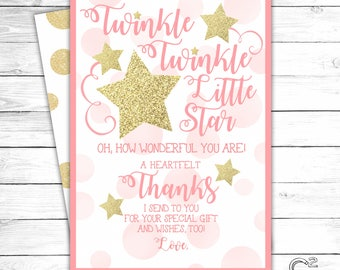 INSTANT DOWNLOAD: Twinkle Twinkle Little Star Thank You Card