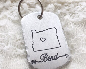 Hometown Keychain,Stamped Keychain,Custom Keychain,Dog Tag,Hometown,Oregon,Back to School,College Student,Going Away,Bend Oregon,Student