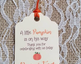 """Personalized Favor Tags 2.5""""Lx1.8""""w, Baby Girl Shower  tags, Thank You tags, pumpkin baby shower, fall baby shower, little pumpkin"""