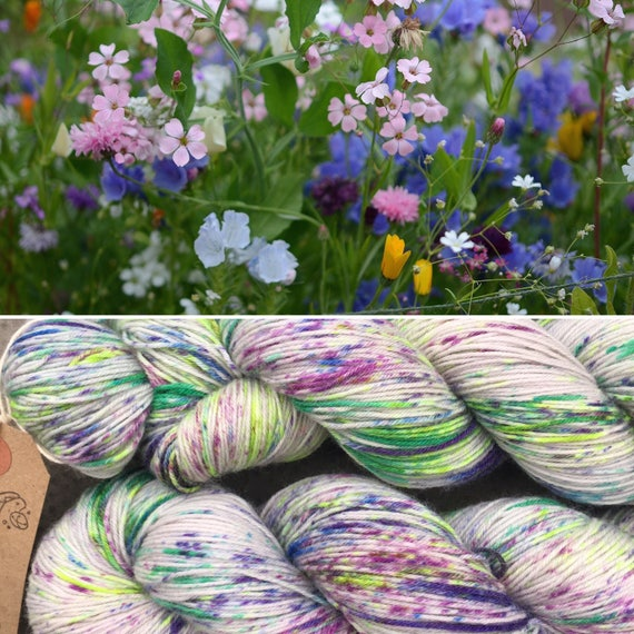 Meadow Bouquet Miniskein 20g, speckled summer indie dyed merino nylon sock yarn grey gray