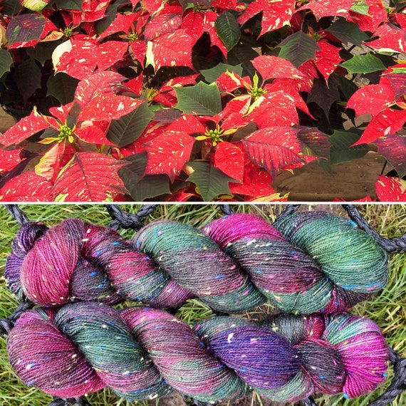 Poinsettia Donegal Sock, 4ply merino yarn with rainbow neps
