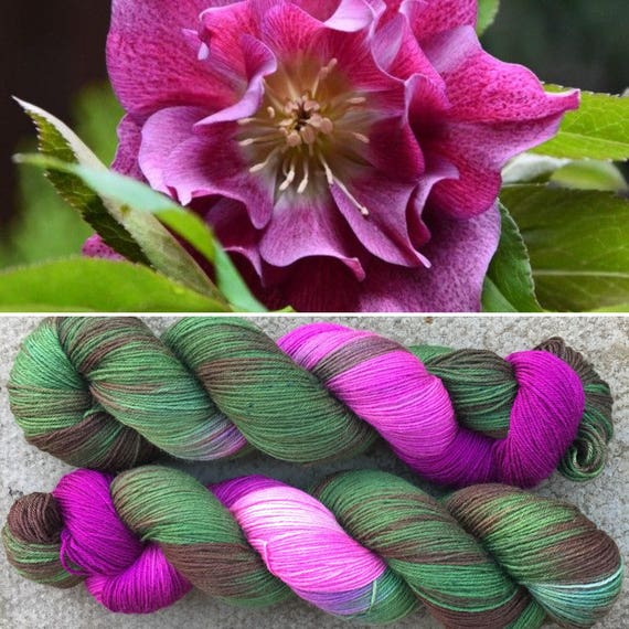 Christmas Rose, 4ply soft smooth merino nylon sock yarn