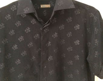 Dark navy oriental dragon print button up short sleeve shirt M