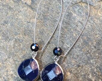 bohemian earrings blue stone earrings long dangle kidney shaped ear wires silver boho earrings Lavish Lucy Designs dangle drop earrings