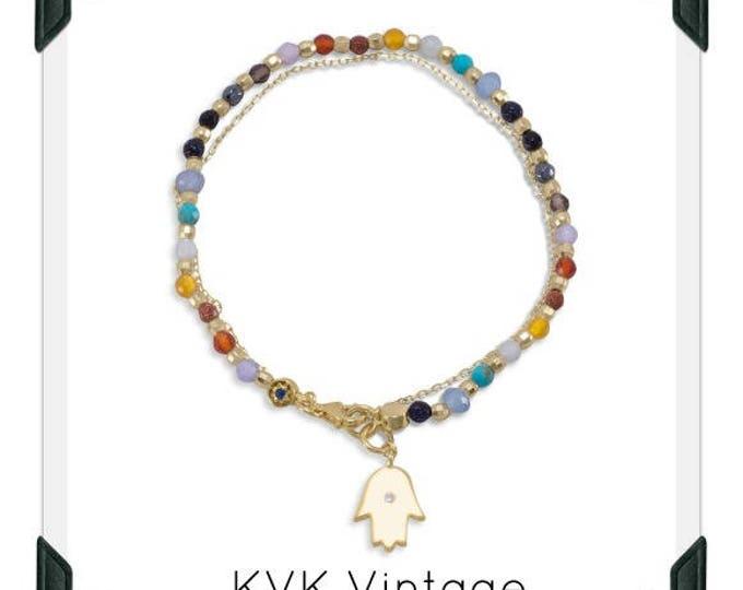 Double Strand 14 Karat Gold Plated Multistone Bracelet with Hamsa Charm