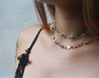 Dainty Boho Festival Coin Chain Shiny Silver Layering Choker Necklace