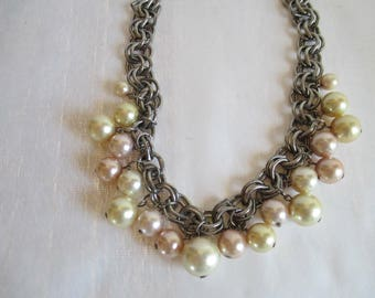 "Vintage Pearls, Statement Necklace, Vintage Plastic Pearls, Double Links Chain.  Feels so good on! Gorgeous! 17 1/2"" Long - Adjustable."