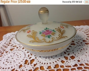 On Sale Vintage Floral Covered Vanity Dish with Gold Trim