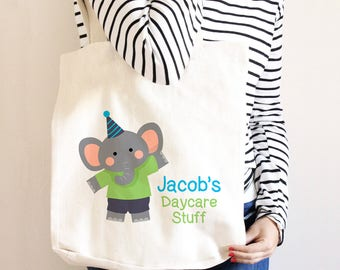 Personalized Daycare Bag - Elephant Diaper Bag - Custom Library Book Bag - Canvas Tote Bag