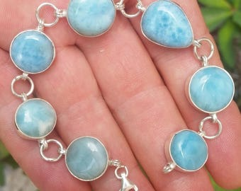 round blue  LARIMAR stones  925 Sterling silver BRACELET (AAA-8)