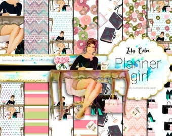 Planner girl digital paper Planner girl themed graphics For planners scrapbooking,  invitations and much more 14 sheets  300 ppi