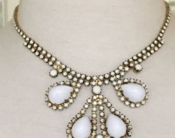Vintage 1960's White Necklace and Earring Set