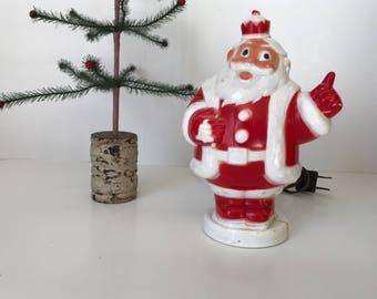 Vintage Plastic Light Up Santa * Plastic Santa Bank * King Santa * Light Up Santa Bank * Christmas Santa Bank * Christmas Night Light