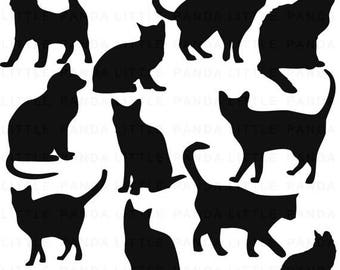 80% OFF SALE Black Cats Digital Clip Art - Personal and Commercial Use - Instant Download - D331