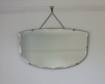 Vintage bevelled edge mirror with decorative clasps - frameless mirror - wall mirror - hallway mirror - bathroom mirror - bedroom mirror