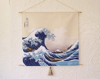 Japanese Furoshiki Oriental Hokusai's 'The Great Wave off Kanagawa' Wall Hanging Tapestry cotton