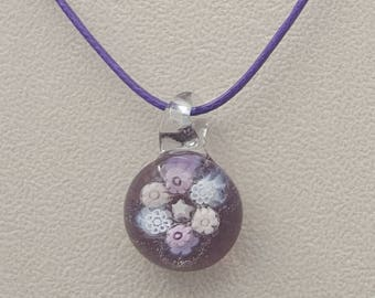 Lilac floral pendant, unique gift, cheerful jewellery, glass art