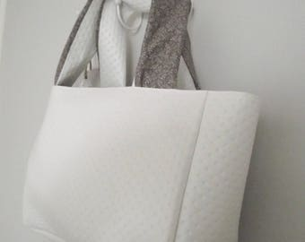 White faux leather tote bag & taupe *.