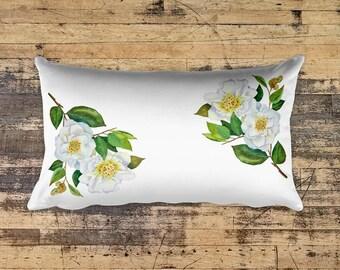 Watercolor Camellia Pillow, 12x20 inches rectangular pillow