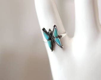 Butterfly Turquoise Ring { 5 1/4 } Vintage Sterling Silver Ring