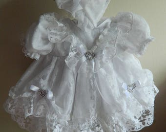 "Reborn  Baby dress and bonnet in  white lace for 16"" reborn dolls clothes for 14-16"" doll clothes baby vintage doll"