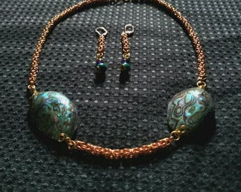 Atlantis: copper byzantine chainmaille necklace and earring set featuring paua shells, amethyst, green australian jasper