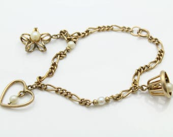 "Vintage 6.5"" Ringing Bell Charm Bracelet with Cultured Pearls Gold Filled. [11400]"