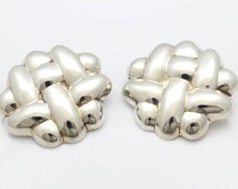 Large Vintage Basketweave Clip-On Puffy Earrings in Sterling Silver. [11904]