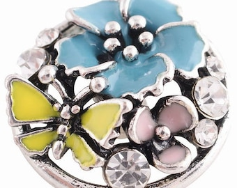KC8805 ~ 3D Enameled Flowers and a Yellow Butterfly Set off with Crystals