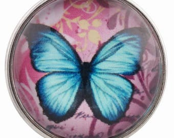C0261 Art Glass Snap ~ Lovely Blue Butterfly Set on Pink Background