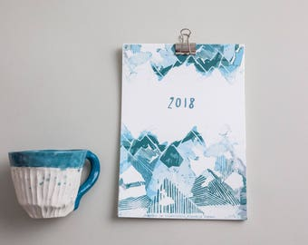 SMALL Calendar 2018, Illustrated Calendar Klavdija Zupanc, small desk ART calendar, gift for new years, christmas, Art print, Unique gift