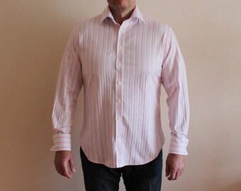 Mens Shirt Pink Striped Shirt Cotton Men's Button up Shirt Long Sleeve Shirt Dress up Shirt French Cuff Shirt