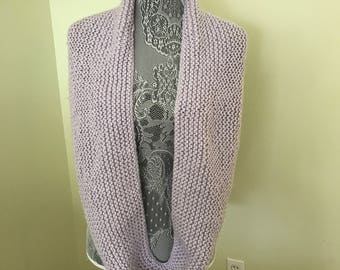 Silver grey infinity scarf. Acrylic machine washable. Hand Knitted