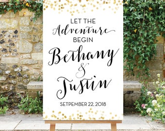 Let the Adventure Begin Wedding Sign Black and Gold Wedding Printable Welcome Digital Sign Gold Wedding Decor Gold Dots The Giselle