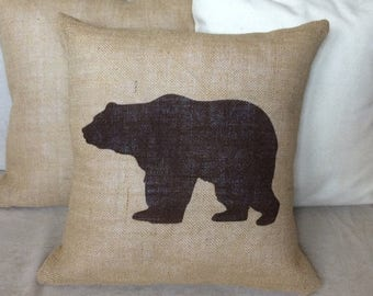 SALE Bear Burlap Pillow Rustic,Gifts For Him,Man Cave,Fathers Day,polar bear Pillow - Cabin decor Cover -Ships Within 3 DAYS!
