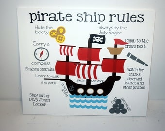 Pirate ship rules - pirate decor - pirate ship wall art - jolly roger sign - pirate ship art - pirate art - nursery decor - boy's room decor