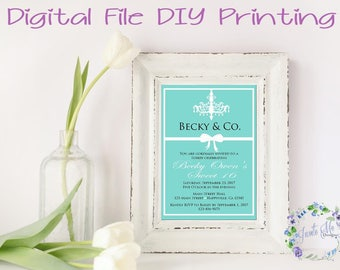 Tiffany and Co. Theme Birthday, Sweet 16, Quinceanera, Baby Shower, Bridal Shower Invitation, Digital File, DIY Printing