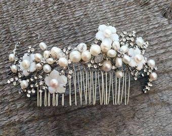 Bridal pearl and crystal hair comb