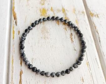 Snowflake Obsidian 4mm Bracelet, Choice of Charm, Bracelet Beaded Bracelet Gemstone Bracelet Intention Jewelry Yoga Bracelet Mala Beads