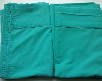 TWO 2 Twin Sheets PERCALE Turquoise 1970's Vintage EUC
