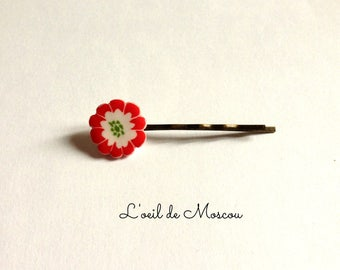 White and Red Japanese flower Bobby pin hair clip
