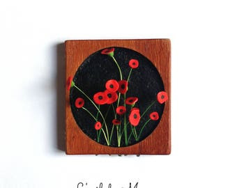 chalkboard 3D poppies on black background